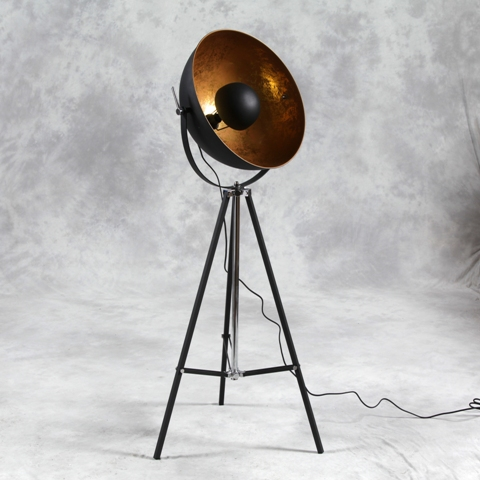Large Tripod Spotlight Floor Lamp With Gold Inner Shade