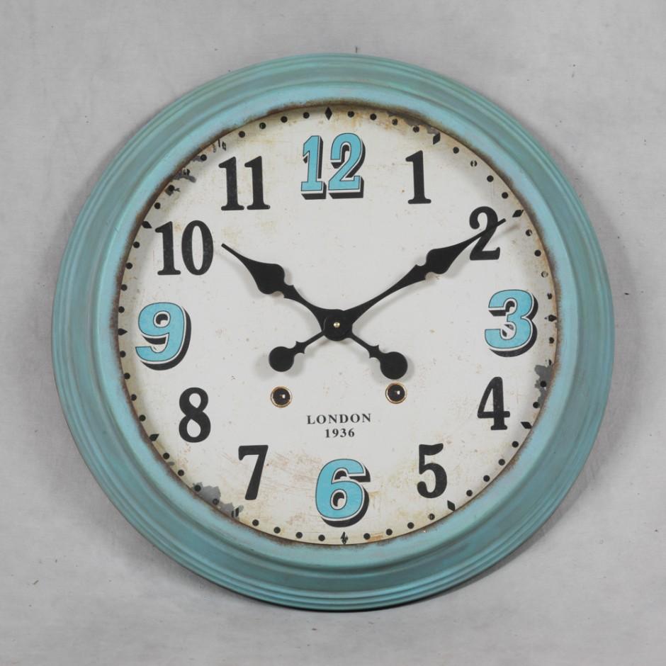 Large Retro Duck Egg Blue Framed Wall Clock Art Rebellion
