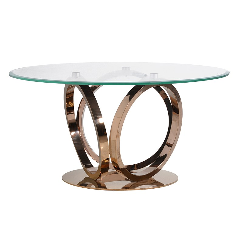 rose gold and glass round dining table - Glass Round Dining Table