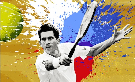 Tim Henman of Great Britain returns the